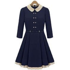 Celebrity Style Womens Vintage Peter Pan Collar 3/4 Sleeves Slim Dress with Perforated Detail and Pleated Skirt (Small, Navy) Teenloveme,http://www.amazon.com/dp/B00B7YYRDY/ref=cm_sw_r_pi_dp_M1Kxrb0V1SV60CDJ