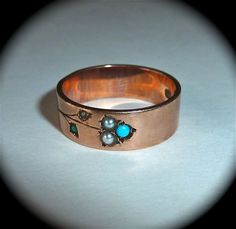 Victorian 14k Rose Gold Ring Engraved Vine Pearl & Turquoise