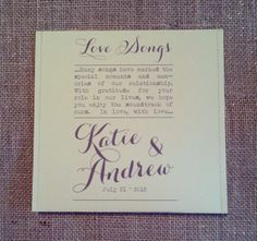 Wedding favor - personalised CD containing music that represents the happy couple and their memories to date!