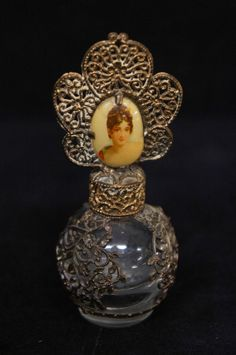 Vintage Silverplate Overlay Glass Cameo Floral Perfume Bottle Czech Early 1900s |