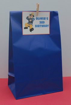 6 x Fireman Sam Paper Party Favour Bags with personalised tags & pegs