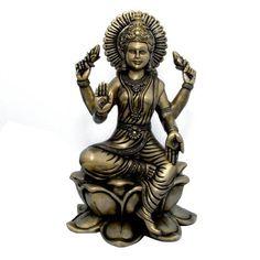 Amazon.com: Hindu Goddess Lakshmi Sculptures Brass Figurines for Home Temple Mandir: Home & Kitchen