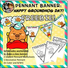 "Banners and Pennants are an easy, trendy way to decorate the 21st Century Classroom!  This file contains a banner that can be printed and used for classroom or hallway displays at any elementary grade level.  Simply print on cardstock, cut, laminate, string together with ribbon and hang!This file includes:3 Pennant Worksheets to Create a ""Groundhog Day"" Class Banner and/or Prediction Class Graph/ Banner1 Decorative Pennant*All in both color and black/white!Join our NEW Facebook clubs, 21st…"