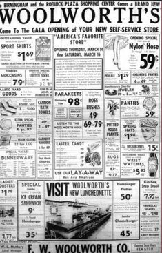 newspaper ad for Woolworth's . look at that, you could buy a pet Parekeet for 98 cents :)Vintage newspaper ad for Woolworth's . look at that, you could buy a pet Parekeet for 98 cents :) Photo Vintage, Vintage Ads, Vintage Photos, Vintage Menu, Vintage Stuff, Weird Vintage, Vintage Stores, Vintage Photographs, Vintage Items