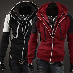2017 New Casual Hoodies Men European Style Leisure Fleece Autumn Double Zipper Slim Long Sleeves Sweatshirt Tracksuit