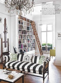 Living room with home library