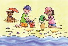 Debbie Tarbett Illustration - debbie tarbett, digital, young, sweet, commercial, novelty, board, educational, people, children, beach, seaside