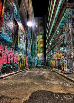 Hosier Lane in Melbourne, Australia. A result of 9 merged images. By Alistair Wilson