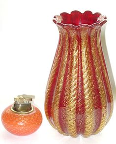 Amazing Murano Red Gold Vase! - svazzo.com - This one is really gorgeous, in the deep Red Color, Design and Shape! Created in the 1950s, this vintage Italian art glass flower vase would be perfect for a fireplace mantel, or centerpiece on your table. Truly a High End designer piece!