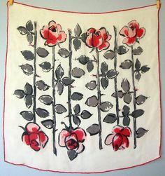 Vintage Silk Scarf - Red and Black Roses