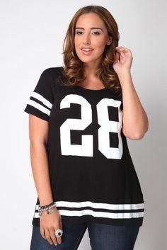 Yoursclothing Womens Plus Size Varsity No.28 Print T-shirt: Amazon.co.uk: Clothing