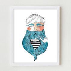 Sailor Illustration impression Giclee pêcheur Portrait dessin marin barbe affiche pêcheurs Wall Art déco Portrait dessin décoration murale chambre