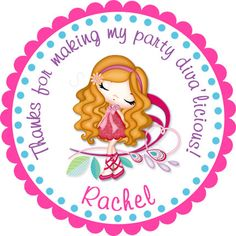 Glam Chic Diva Girl 1 Personalized Stickers  Party by partyINK, $6.00