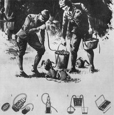 Japanese troops using the water filter purifier,