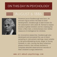 6th August 1886. Florence Laura Goodenough was born. An eminent figure within the field of child development, Goodenough is best known for her association with Lewis M. Terman's classic studies of gifted children and for creating the Draw-a-Man test; a revolutionary non-verbal measure of intelligence for children.  #psychology #ChildDevelopment