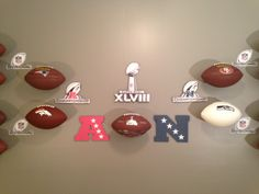 AFC NFC Championship brackets using standard collectible footballs and the INVISI-ball Wall Mount.