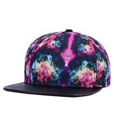 2e5137a677ae1 Unisex Vintage Galaxy Print Fitted Flat Bill Hats Cool Snapback Hip Hop Cap  Forwardor http