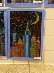 Starry Night inspired skyscrapers ... scratch art Starry Night!?!? That would be awesome!