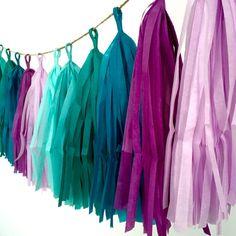 MERMAID / tissue paper tassel garland / party garland / mermaid party…