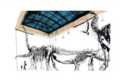 Dinosaurs at the Museum 1 Dinosaurs, Museum, Ink, Watercolor, Acrylics, Drawings, Illustration, Animals, Pen And Wash