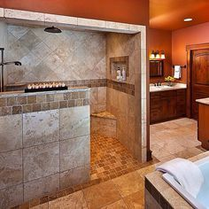 Walk in shower. No glass to clean. Different color & tile though.