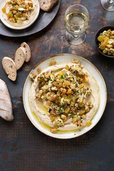 Roasted cauliflower hummus with sultanas