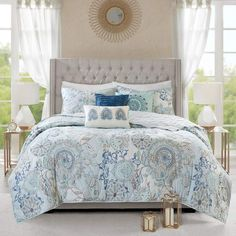 Refresh your bedroom with the Madison Park Isla 8 Piece Cotton Printed Reversible Comforter Set. The cotton percale comforter and shams flaunt a botanical floral design with a medallion motif printed in soft blue watercolor hues. Blue Comforter Sets, Blue Bedding, Bedding Sets, King Comforter, Navy Comforter, Paisley Bedding, Cream Bedding, Floral Comforter, King Size Duvet Covers