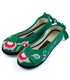 Old Beijing Ethnic Embroidered Backlace Flat Green R18