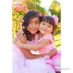 Girls, Princess, garden, sisters, siblings, flowers, sunshine, kids, children, photography @POJphotography