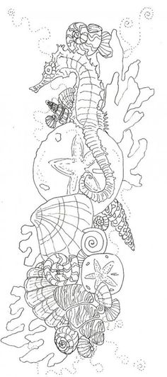 the drawing before it became color Seahorse Shells Ocean Coloring pages colouring adult detailed advanced printable Kleuren voor volwassenen coloriage pour adulte anti-stress Ocean Coloring Pages, Coloring Book Pages, Coloring Sheets, Neue Tattoos, Embroidery Patterns, Zentangle, Tatting, Body Art, Drawings