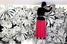 декор стен, дизайнерские идеи интерьера, декор своими руками для дома, Рисунок на стене своими руками, рисунок цветов на стене