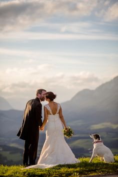 A classic wedding with a spectacular view of the Austrian Alps - and an adorable dog!   Wedding Memories   See More! http://heyweddinglady.com/alpine-wedding-in-austria-from-wedding-memories/