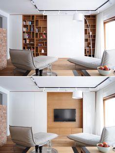 Bookshelves With Tv, Bookshelves In Living Room, Living Room Tv, Living Room Modern, Home And Living, Minimalist Bookshelves, Living Room Wall Designs, Home Room Design, Inside A House
