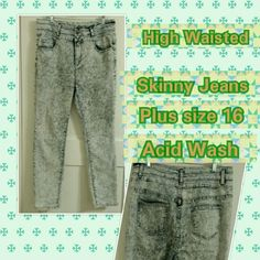 """High Waisted Skinny Jeans Plus size 16 Booty Lift These awesome jeans are just a tad too long on me, I hate to let them go!!!  Worn once with boots, then washed, basically new,,,looking for a new home!  I am 5'4"""", typically size 14-16 in jeans fits, so if you're a little taller than I am,  these would be better for you!  Feel free to ask questions if you have any!  XOXOXO Iris Jeans Jeans Skinny"""