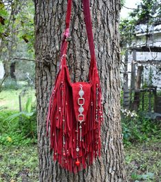 Handmade Brick Red Suede Leather Fringe Bag Silver & Red Boho By ShellB Fringe Purse, Fringe Bags, Denim Handbags, Purses And Handbags, Gypsy Style, Hippie Style, Boho Style, Hippie Chic Fashion, Gypsy Fashion