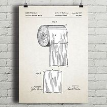 Rolka papieru - patent - plakat vintage, dodatki - plakaty, ilustracje, obrazy