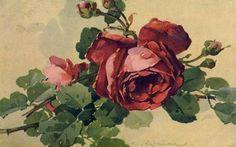 View album on Yandex. Floral Vintage, Vintage Roses, Vintage Prints, Catherine Klein, Art Nouveau Pattern, Old Postcards, Red Roses, Portrait, Painting
