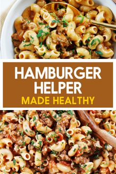 Love that classic childhood boxed favorite, but want to make it all homemade and healthier? This Healthy Hamburger Helper recipe is your solution. Easy Pasta Recipes, Easy Dinner Recipes, Vegetarian Recipes, Healthy Recipes, Tasty Meals, Delicious Recipes, Dinner Ideas, Yummy Food, Healthy Hamburger