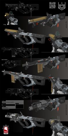 Modular Weapon System by rmory studios Sci Fi Weapons, Weapon Concept Art, Fantasy Weapons, Weapons Guns, Guns And Ammo, Future Weapons, Military Guns, Robot Design, Futuristic Technology