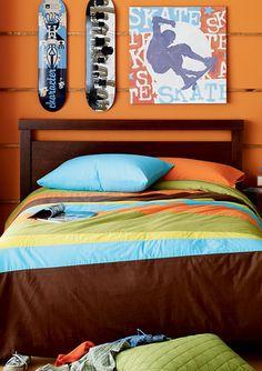 boys bedding orange   Boys Modern Bedding - Stripe Comforter Set