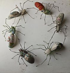 Leeds-based textile artist Mister Finch breathes life into vintage fabrics by transforming them into sculptures of moths, rabbits, mushrooms, and strange hybrid lifeforms.