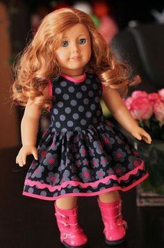 American Girl Dress 18 inch  black dress gray polka dots