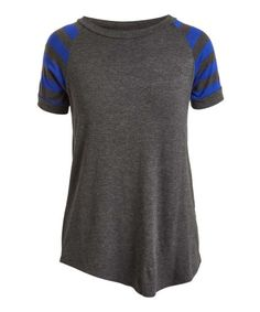 Cool Melon Charcoal & Royal Blue Stripe Raglan Tee - Women & Plus | Zulily