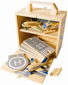 Alsuna Wooden Portable Toy Box Airport Playset