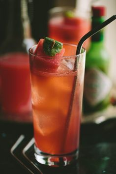 Watermelon Shrub Spritzer // A Thought For Food Fun Cocktails, Cocktail Drinks, Fun Drinks, Yummy Drinks, Cocktail Recipes, Alcoholic Drinks, Cheers, Healthy Snacks, Healthy Recipes