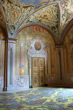 National Museum of San Martino, Naples, Italy. Room in the Prior 's quarters, ceiling painted with Chinoiseries designs, floor of Majolica tiles about Venice Travel, Rome Travel, Sorrento, Kingdom Of Naples, Napoli Italy, Ceiling Painting, Historical Architecture, National Museum, Sicily