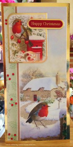 "Christmas Card (153) - DL Card, Hunkydory ""Little Robin Redbreast"" with added bow and gems"