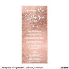 Luxury faux rose gold leaf wedding menu
