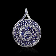 Mousson atelier, collection Caramel - Spiral, pendant, White gold 750, Sapphires