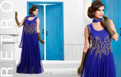 Superbly Designed Party Wear Gown in Netted Fabric with Santoon inner in Royal Blue color with beautiful Diamond Hand work done. Best for Parties and Ceremonial Occasions. Party Wear Long Gowns, Evening Party Gowns, Net Gowns, Gowns Of Elegance, Anarkali Dress, Western Dresses, Designer Gowns, Designing Women, Wedding Gowns
